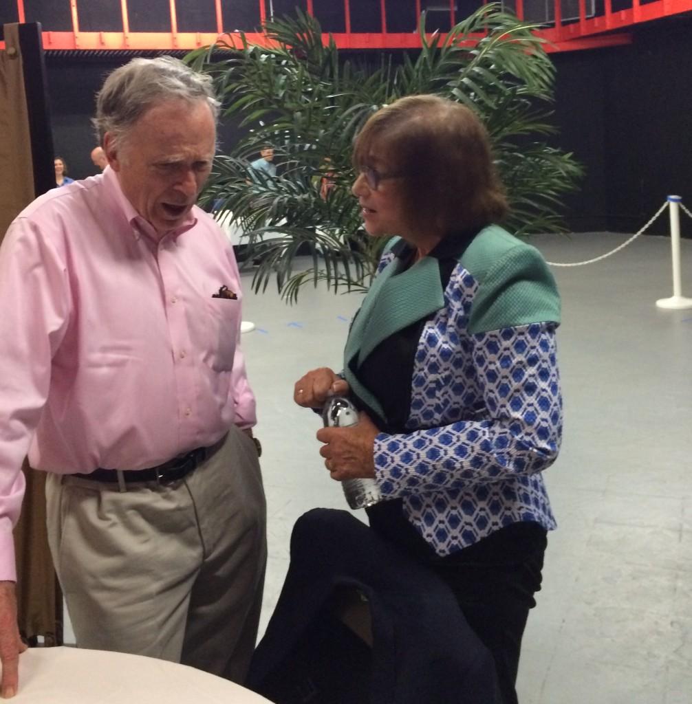 Dick Cavett and Long Island essayist Marcia Byalick share a few words backstage.