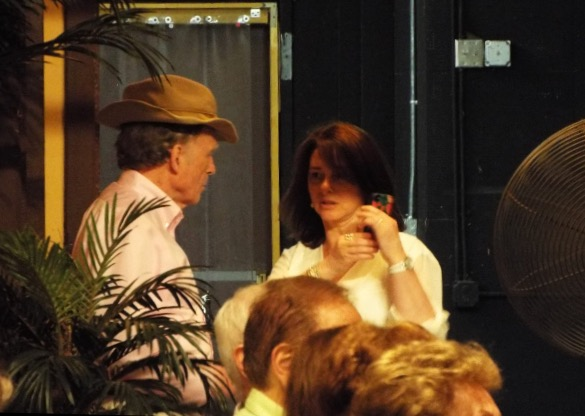 A private word backstage between Dick Cavett and LitFest producer, Claudia Gryvatz Copquin.