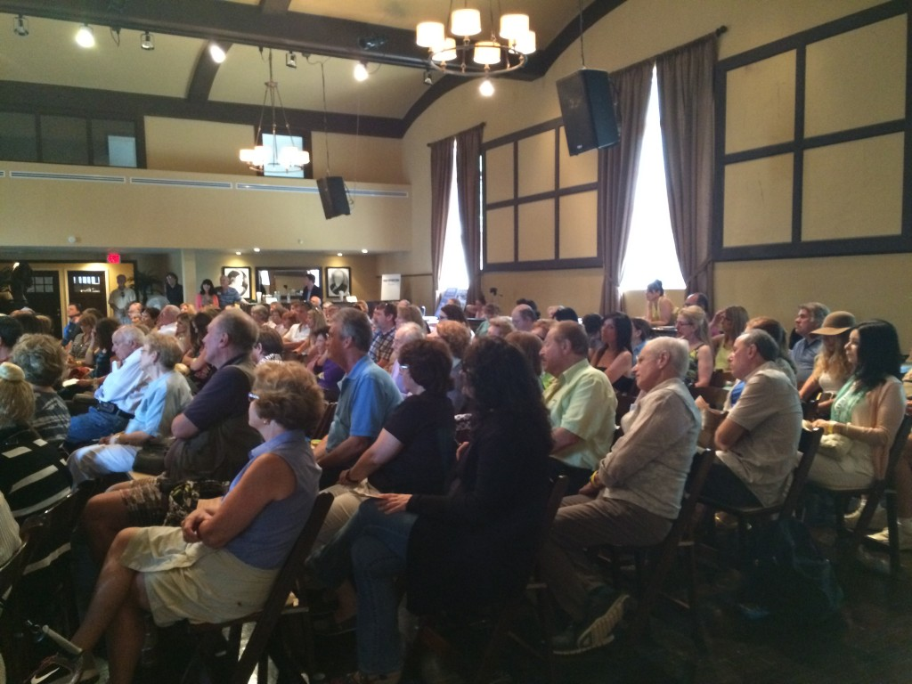 About 200 audience members raptly listened to our readers.