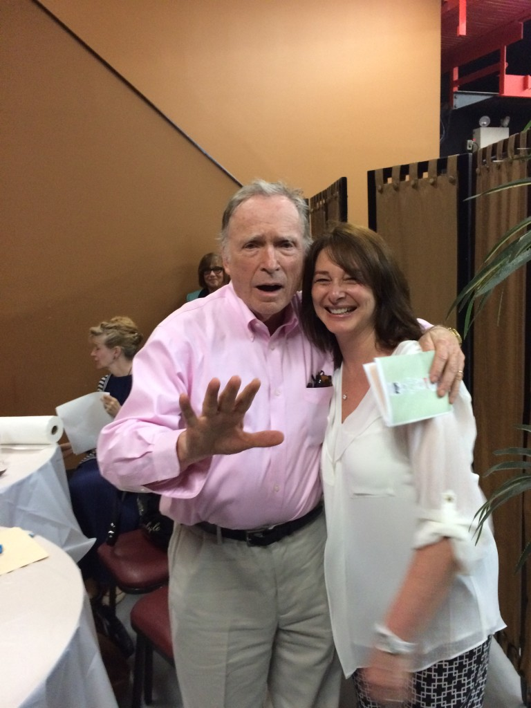 """We're not ready!"" Dick Cavett with LitFest producer, Claudia Gryvatz Copquin."
