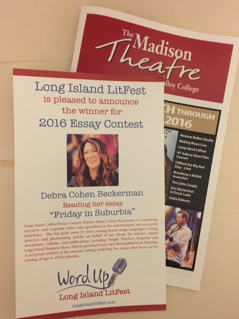 Debra Cohen Beckerman won the 2016 contest and read her entry in the first session.