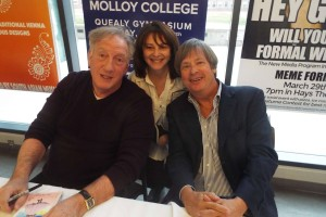 LitFest producer Claudia Copquin, flanked by two funny guys: Alan Zweibel and Dave Barry.