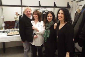Backstage, authors Steven Gaines, Cathi Hanauer and Caroline Leavitt with LitFes producer Claudia Copquin, trying to hide her cast.