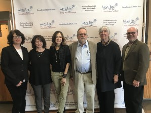 Session 1 authors with emcee Barry Dougherty and LitFest Founder Claudia Copquin.